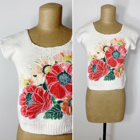 VINTAGE Shakti chunky knit cropped applique top